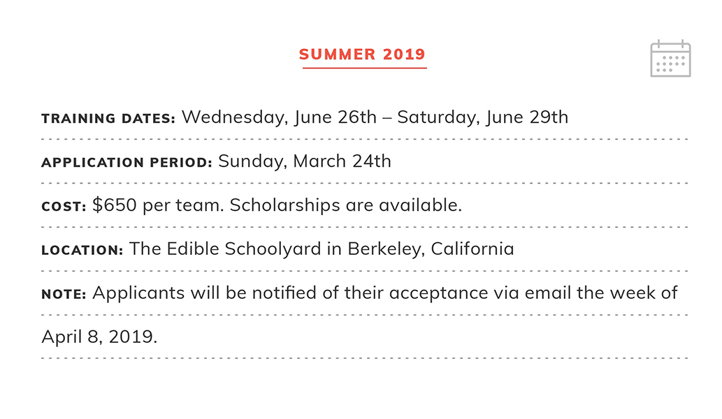 Summer Training 2019 | Application Deadline: Sunday March 24, 2019  | Cost: $650 per person. Scholarships are available. | Location: The Edible Schoolyard in Berkeley, California | Note: Applicants will be notified the week of April 8th.
